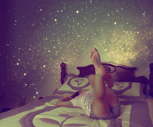 girl, bed, and stars image