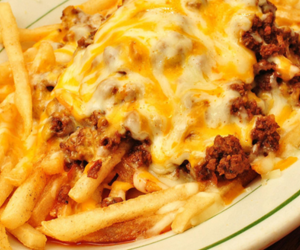 food, cheese, and fries image