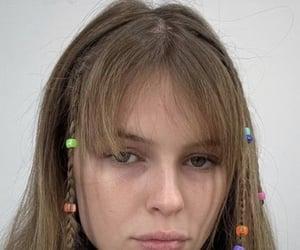 bangs, hair, and model image