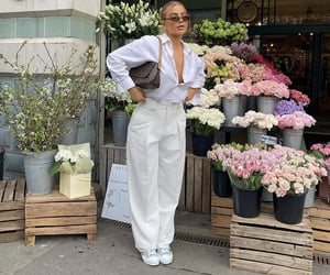 button up shirt, wide leg pants, and fashionista fashionable image