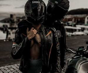 black, couple, and motorcycle image