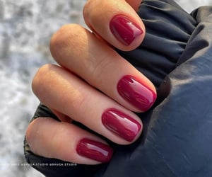 beauty, burgundy, and manicure image