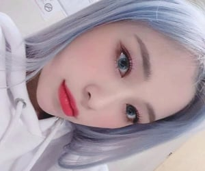 blue eyes, dyed hair, and white image