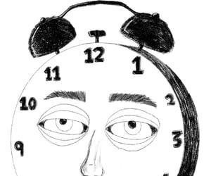 b&w, clock, and dark image