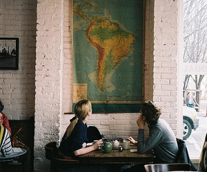 couple, map, and cafe image