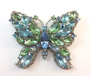 vintage butterfly, rhinestone pin, and jewelry gift for her image