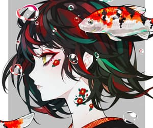 red, art, and fish image