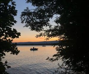lake, light, and sky image