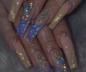 blue nails, gold nails, and glitter image
