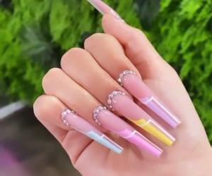yellow nails, jewel nails, and blue nails image