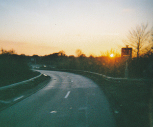 photography, road, and sunset image