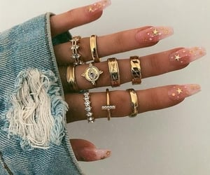 fingers, gold, and jewelry image
