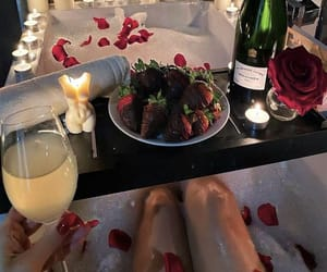 aesthetic, candle, and champagne image