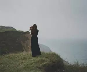 beach, melancholy, and cliff image