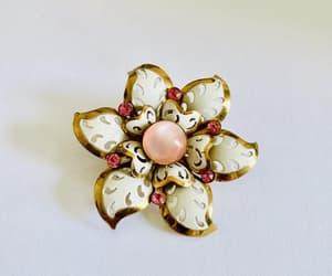 etsy, flower brooch, and pink rhinestones image