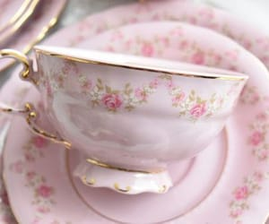 floral, tea, and pink image