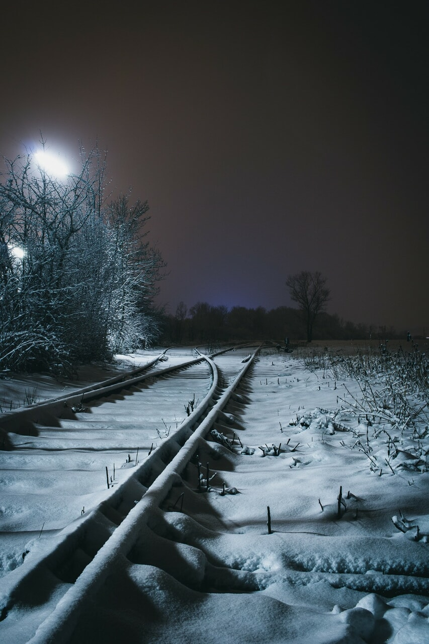 landscape, snow, and night image