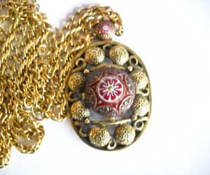 etsy, statement necklace, and red white gold image