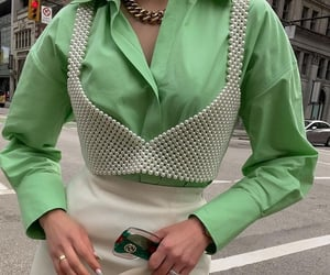 green, pearls, and skirt image
