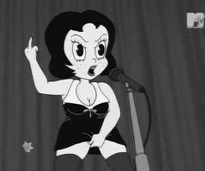 black and white, cartoon, and feminist image