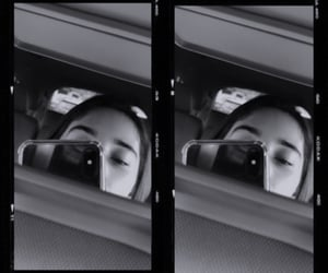 bw, car, and mirror image