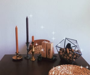 candles, dining table, and living room image