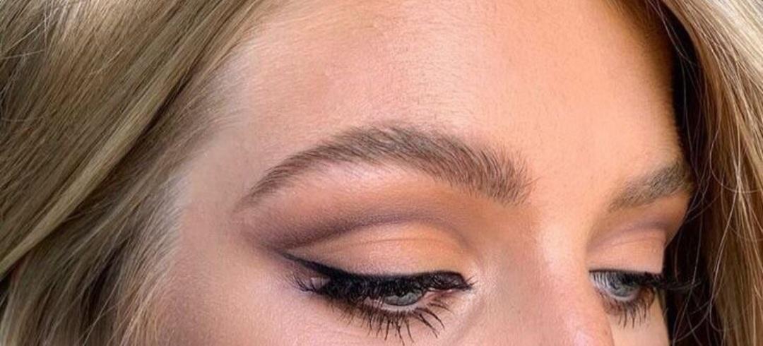makeup, brown eyeshadow, and blue eyes image