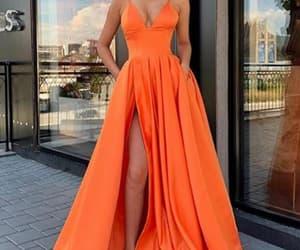 fashion, girl, and orange prom dress image
