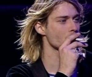 kurt cobain, cigarette, and nirvana image