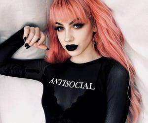 antisocial, bangs, and black nails image