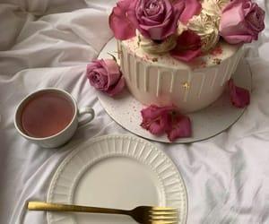 cake, tea, and flowers image