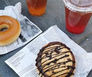 bubble tea, chocolate, and donut image