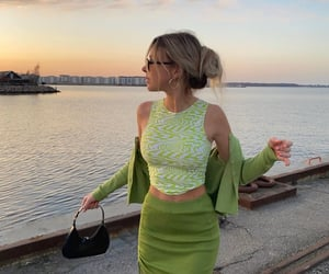 green tones, outfit, and green skirt image