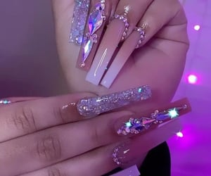 bling, goals, and long nails image
