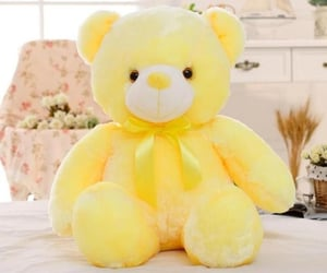 happiness, teddy bear, and yellow image