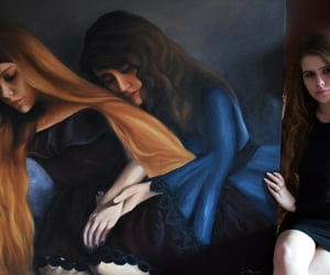 art, paint, and portraits image