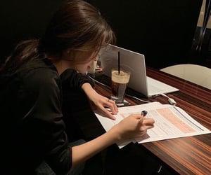 girl, study, and book image