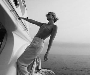 black and white, boat, and fashion image