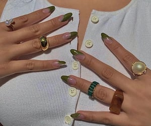 accessories, green nails, and jewelry image