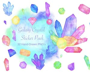 crystals, bullet journal, and digital stickers image
