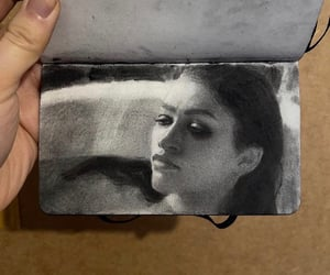 b&w, marie & malcolm, and charcoal image