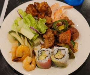 fish, plate, and sushi image