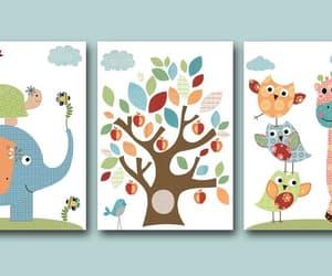 childrens art, etsy, and owl decor image