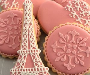 Cookies, eiffel tower, and pink and white image