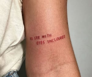 red, tattoo, and eyes image