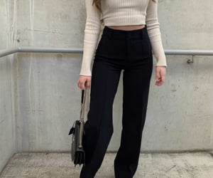 black, black pants, and fashion image