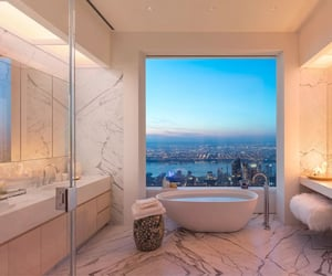architecture, pink bathroom, and modern bathroom image
