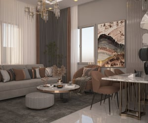 3d, interior design, and living room image