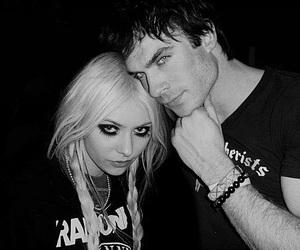 ian somerhalder, Taylor Momsen, and black and white image