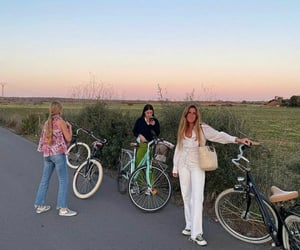 bike, friendship, and girl image